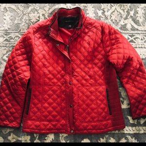 Women's warm weatherproof red puffer jacket